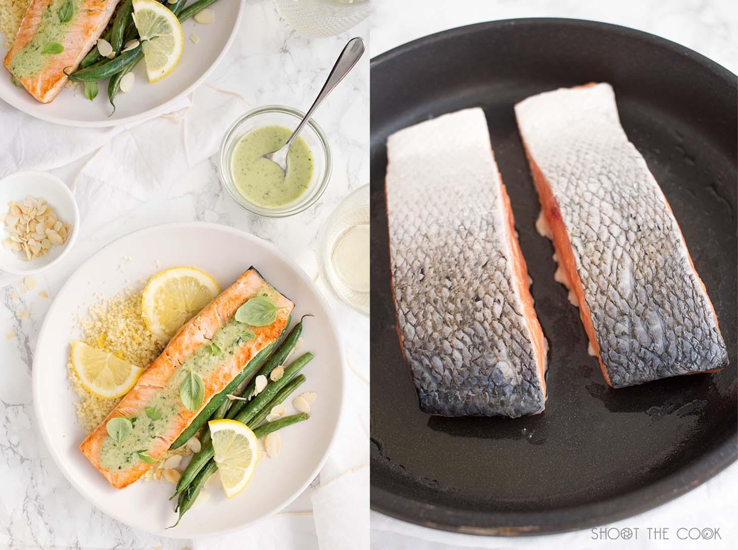 salmon a la plancha con salsa albahaca