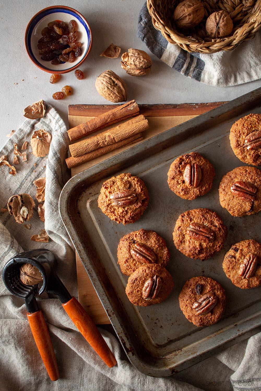 galletas de nuez y avena veganas
