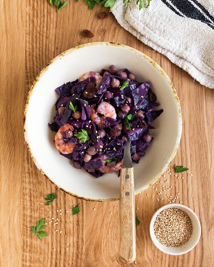 receta de lombarda con langostinos