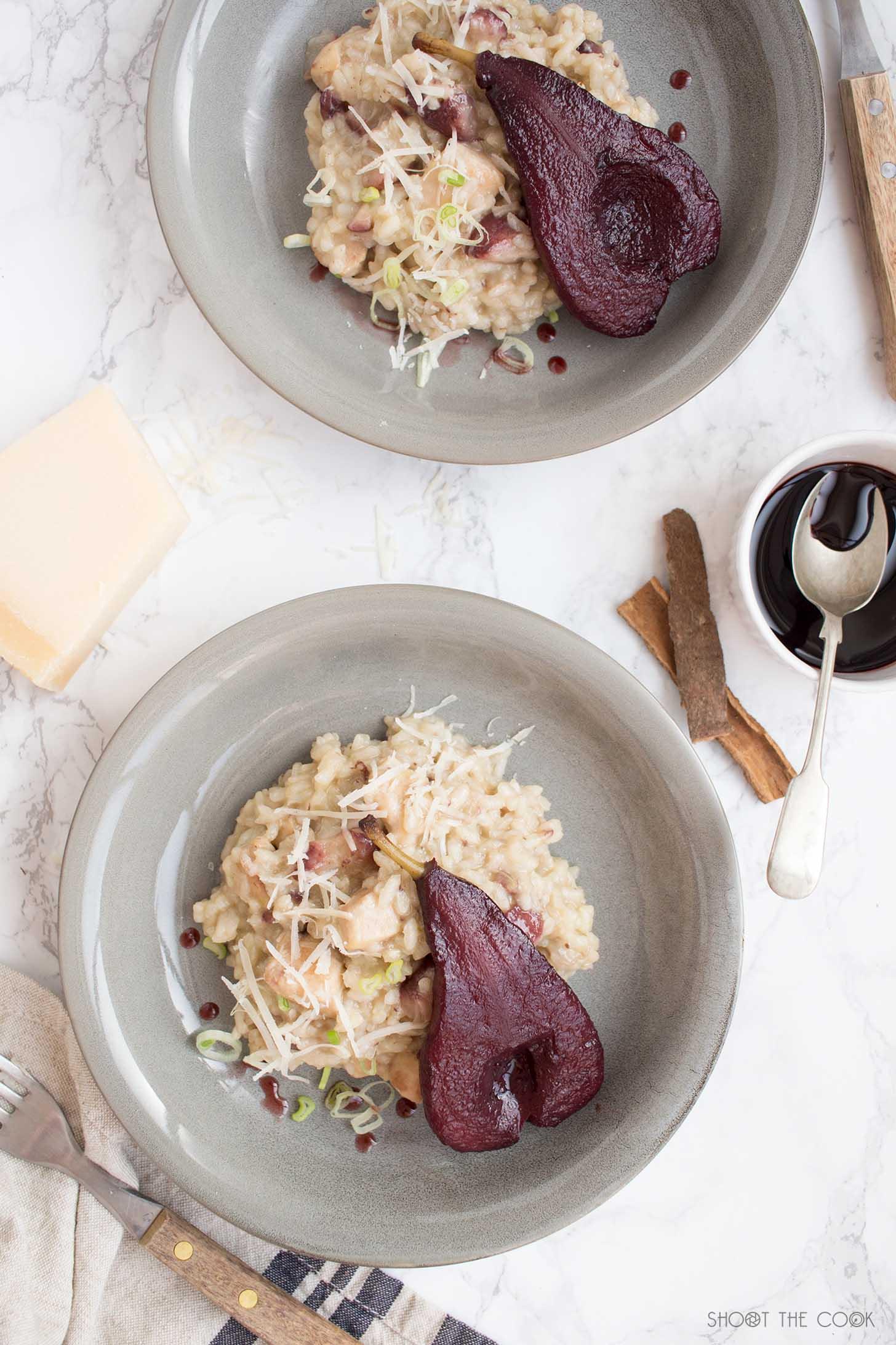 risotto de pollo y peras al vino