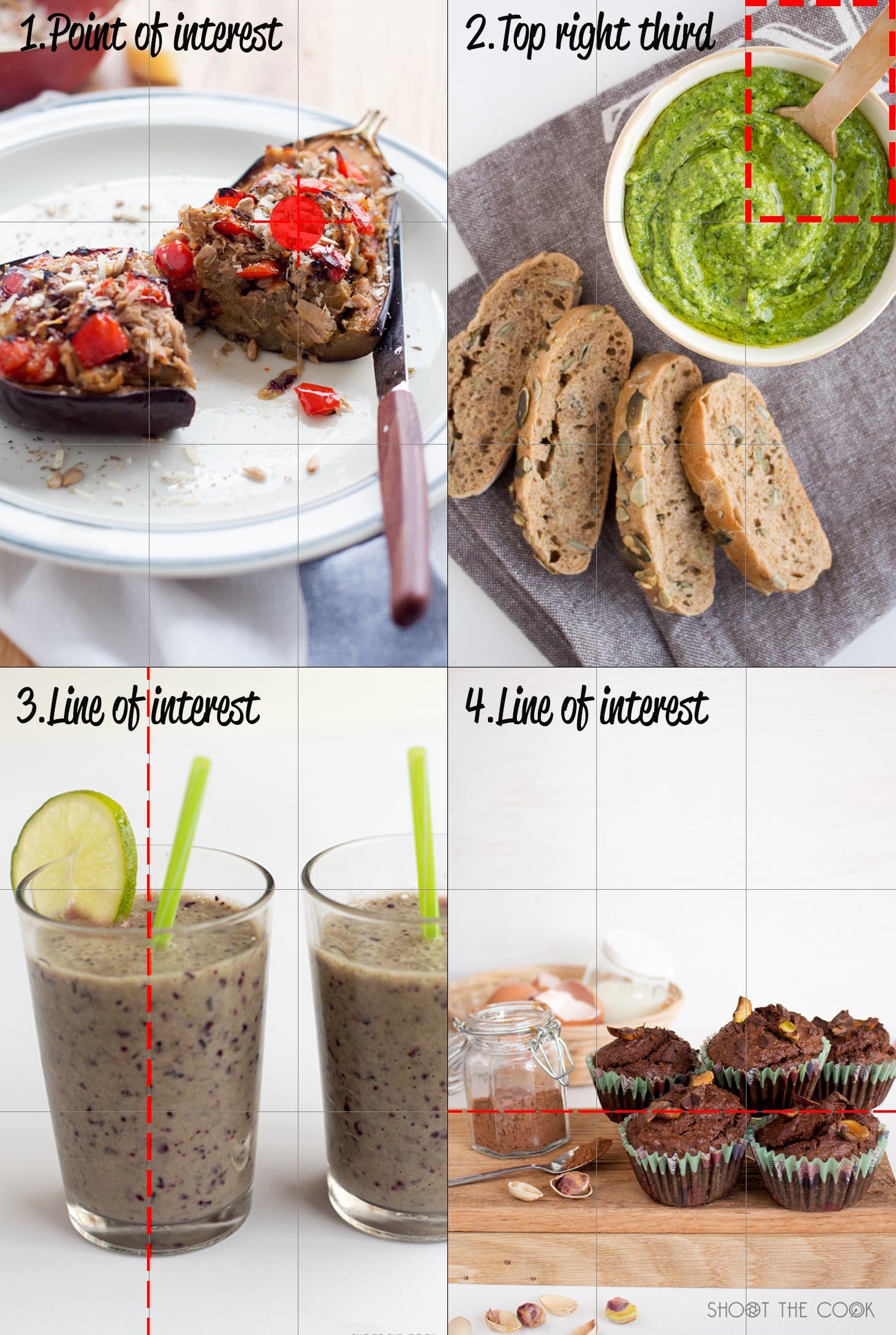 Regla de los tercios fotos comida