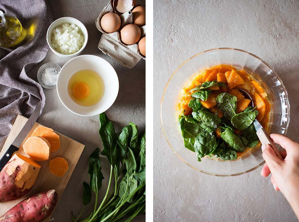 Tortilla de Boniato y Espinacas receta