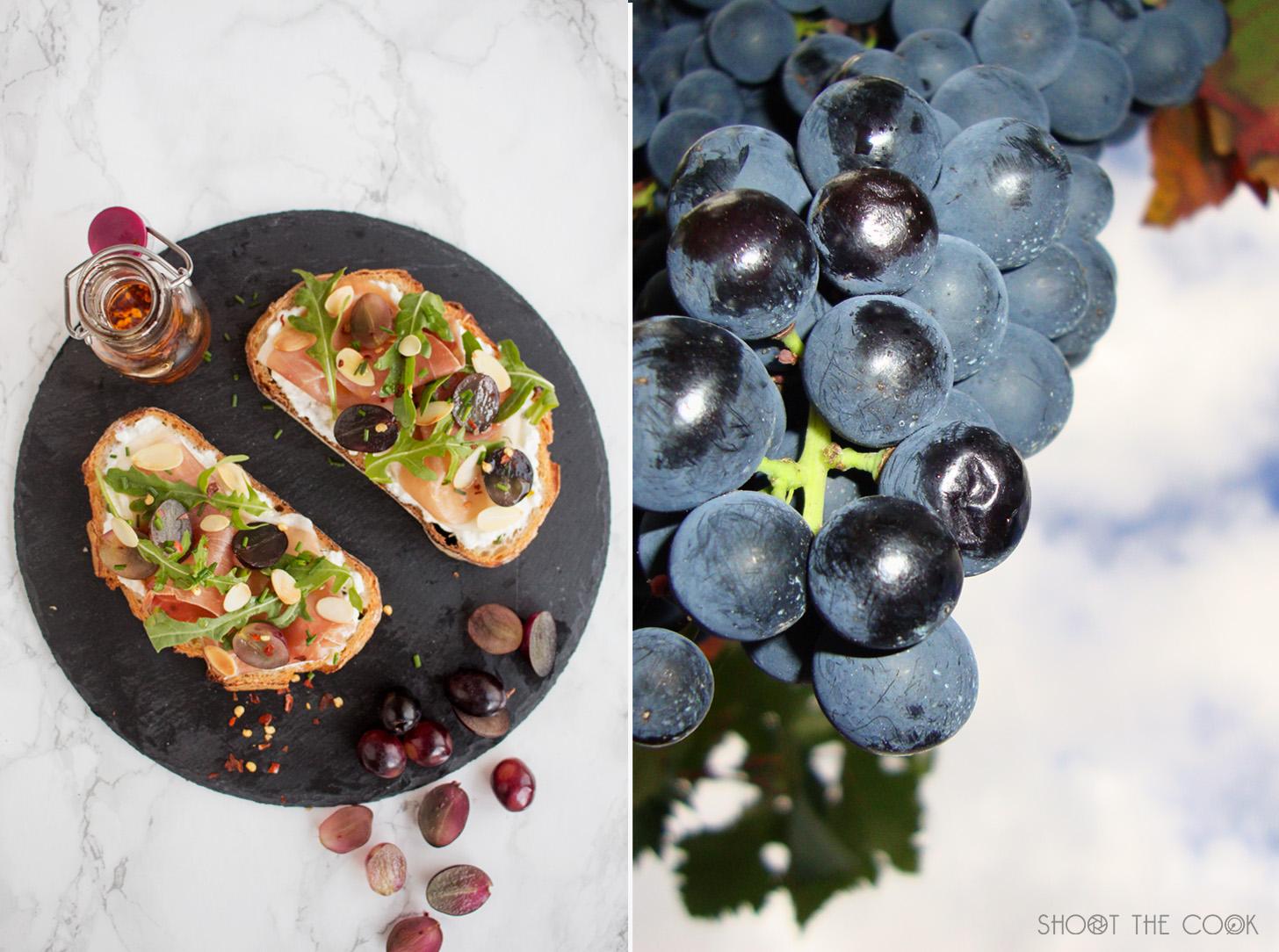 Tosta de jamón y uvas